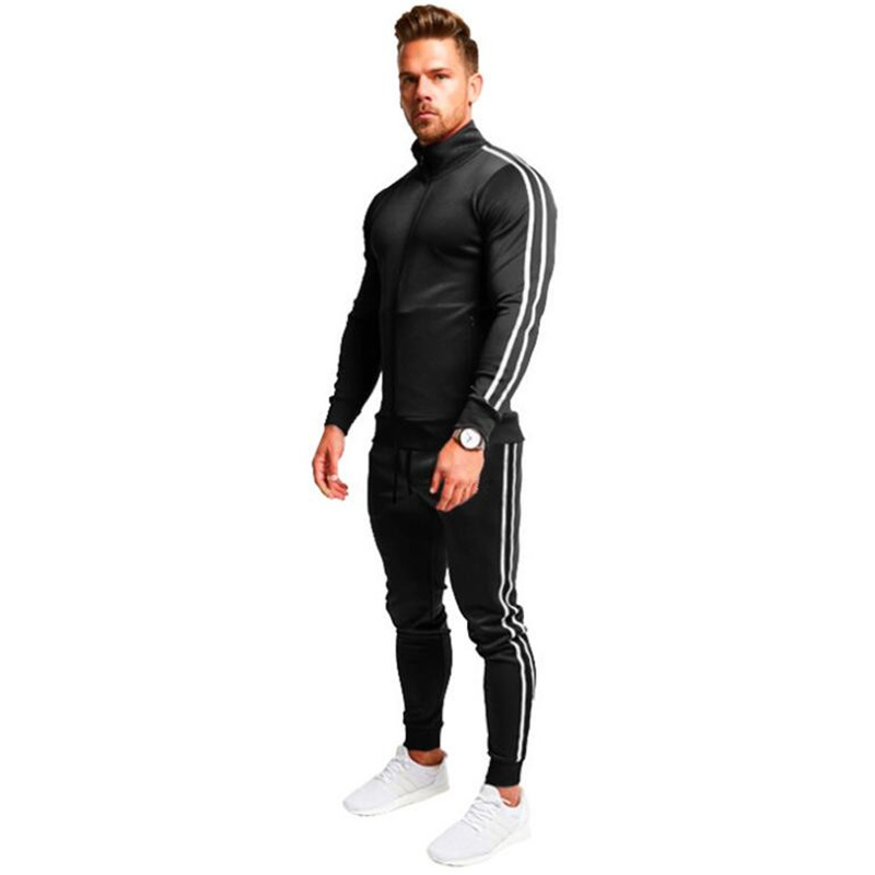 Sportswear Jacket Pants Suit Hoodie Men's Clothing Zipper Striped 2sets of Long-Sleeved-Shirt