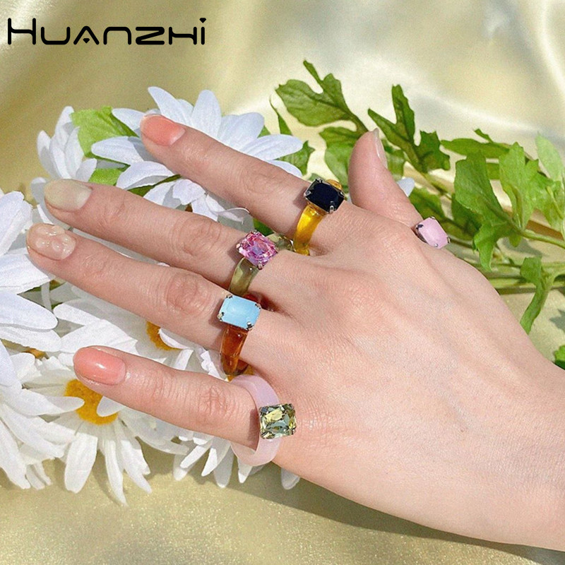 HUANZHI 2020 новые индивидуальные красочные прозрачные геометрические прямоугольные Стразы акриловые кольца для женщин украшения для отдыха|Кольца|   | АлиЭкспресс