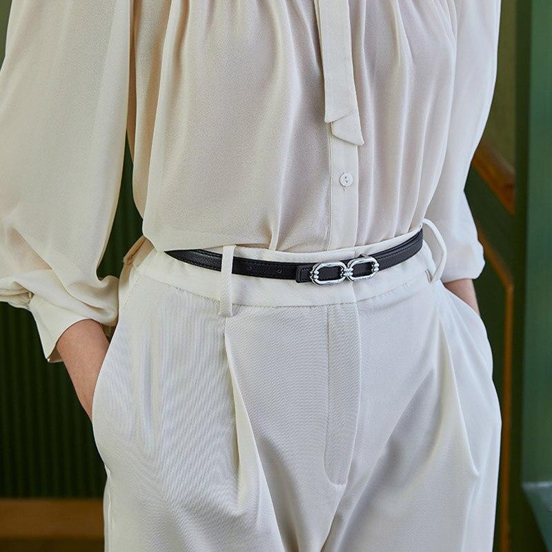 Luxury Brand Women Belts Waist Strap Thin Skinny Ladies Dress Belt Leather Gold Buckle Female Black Fashion Designer Waistband
