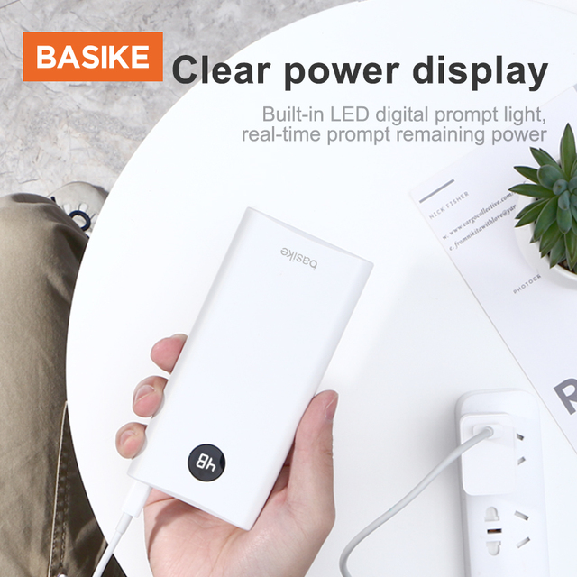 BASIKE Portable Power Bank 20000mAh Powerbank External Battery Phone Charger Spare Battery Mobile Phone Accessories Smartphones 2