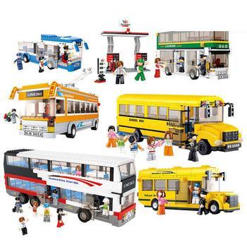0506 382PCS City bus - large school bus. toys for children educational building blocks 3D DIY Figures Birthday