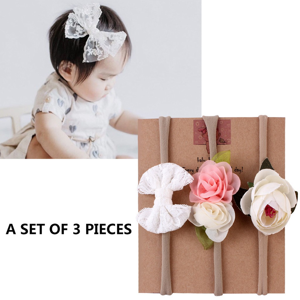 3PC//Set Infant Baby Girl Cute Bow Headband Newborn Hair Band Headdress Headwear
