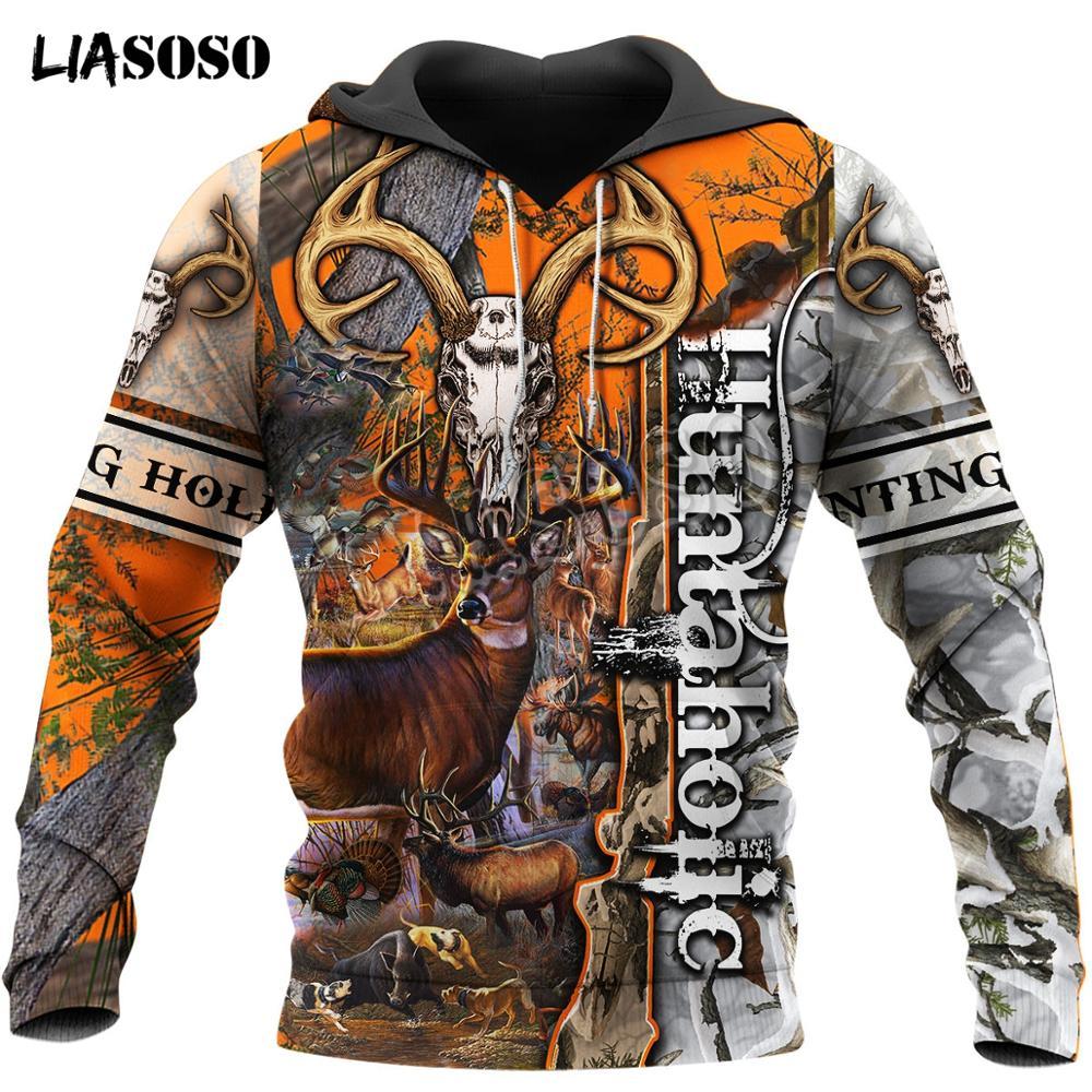 LIASOSO Deer Hunting Camo 3D Printed Men Hoodies/sweatshirt Harajuku Fashion Hooded Long Sleeve Pullovers Unisex Streetwear