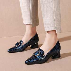 Image 3 - Krazing Pot print mixed colors cow leather fashion elegant belt buckle pointed toe med heels slip on spring daily wear pumps L40