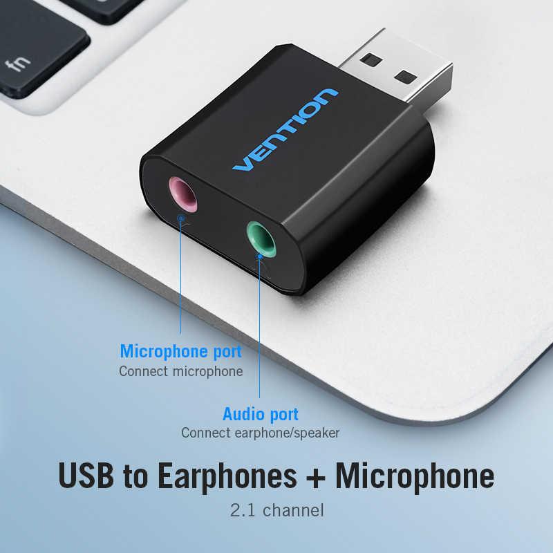 Vention Mini USB Eksternal Kartu Suara USB untuk 3.5 Mm Headphone Adaptor Audio Kartu untuk MIC Speaker Laptop PS4 Komputer kartu Suara