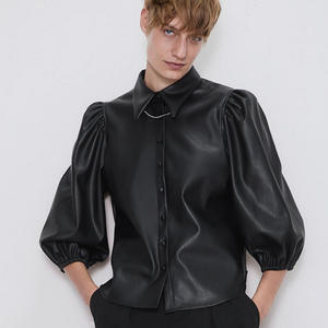 RR Fluffy Sleeve Blouses Women Fashion Faux Leather Turn Down Collar Shirts Women Elegant Buttons Tops Female Ladies HP
