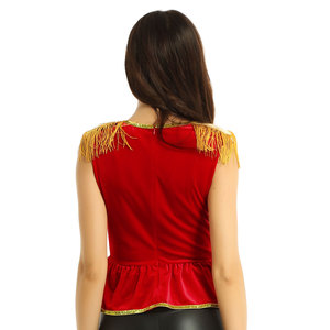 Image 5 - Women fancy dress circus costume top Soft Velvet Square Neck Sleeveless with Epaulettes Shirt Top Halloween Circus Costume Top