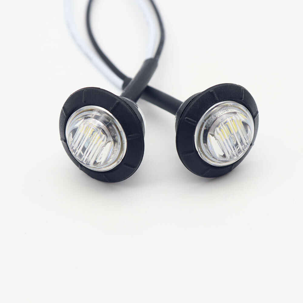 10pcs White LED Car Side Marker Indicator Lights 12V Auto Truck Lorry Caravan Warning Light Rear Tail Signal Lamp 50000 hours