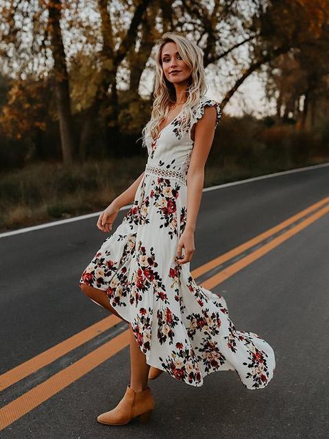 Hot sale Women v-neck short sleeve elegance fitness Summer Vintage Boho Long Maxi Dress Party Beach Dress Floral Sundress 1