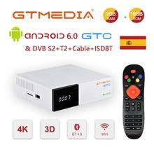 Приемник спутникового ТВ GTmedia GTC, приемник Android 6,0, ТВ приставка DVB S2/T2/кабель Amlogic S905D 2 Гб 16 Гб с Cline TV BOX M3U