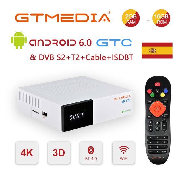 GTmedia GTC Satellite TV Receiver Receptor Android 6.0 TV BOX DVB S2/T2/Cable Amlogic S905D 2GB 16GB with Cline TV Box M3U