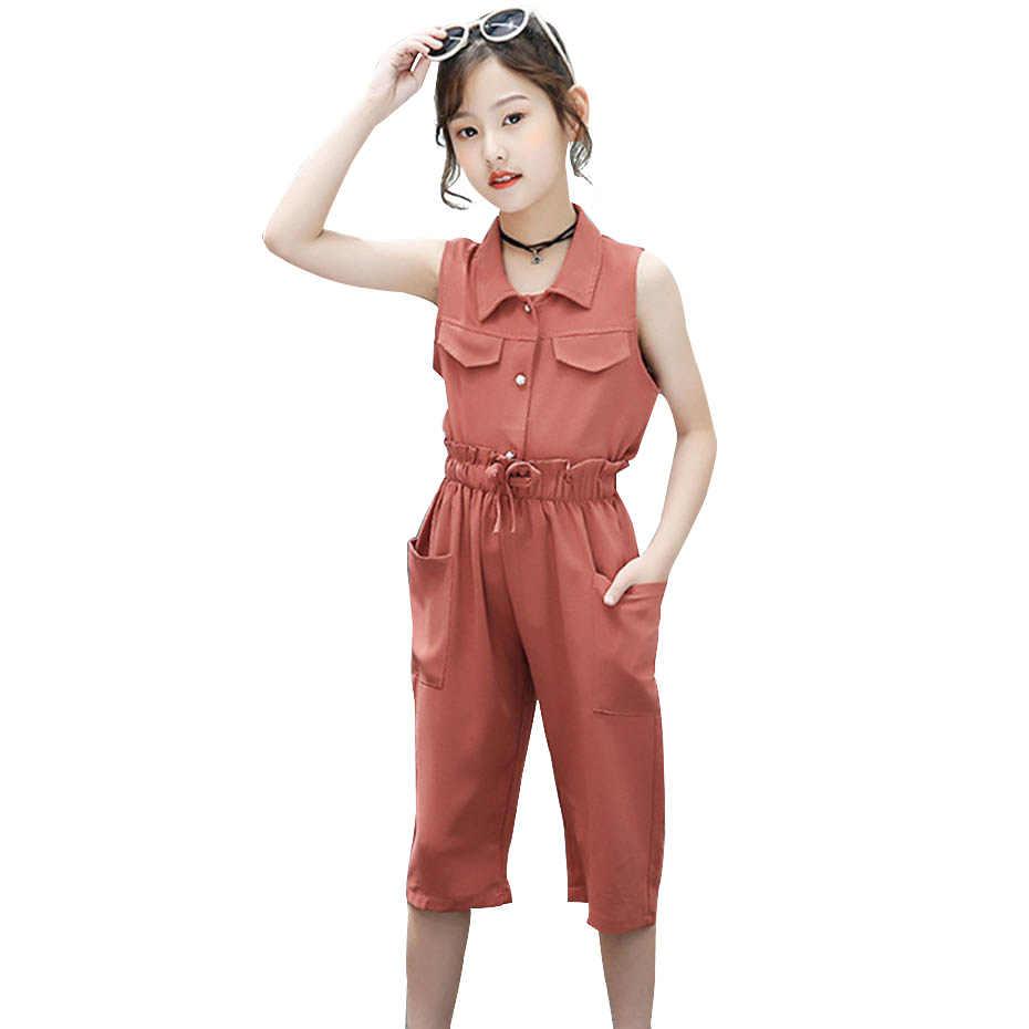 십대 옷 솔리드 블라우스 + 송아지 길이 바지 2 Pcs 소녀 옷 민소매 아이 옷 소녀 캐주얼 여름 정장 소녀