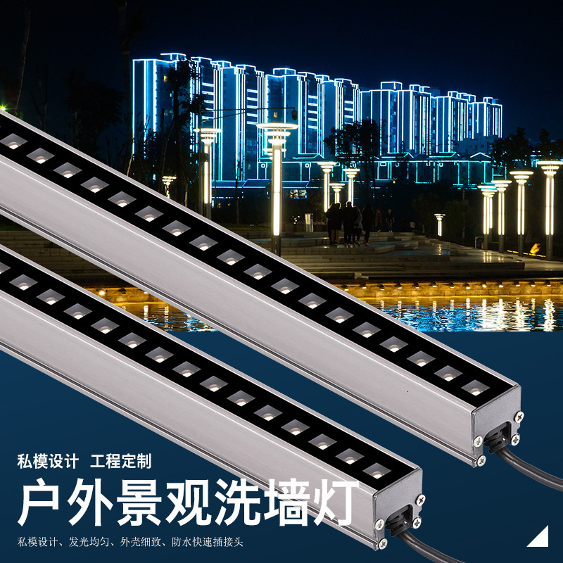 10pcs 6w 12w  LED Wall Washer Landscape Light DC 24V Dmx512 Outdoor Lights Wall Linear Lamp Floodlight 100cm Wallwasher