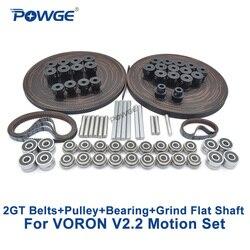 POWGE VORON V2.2 Set GT2 LL-2GT RF correa de distribución abierta 2GT 16T 20T polea 110/188 correa de bucle eje rodamiento 625 F695 2RS partes de movimiento