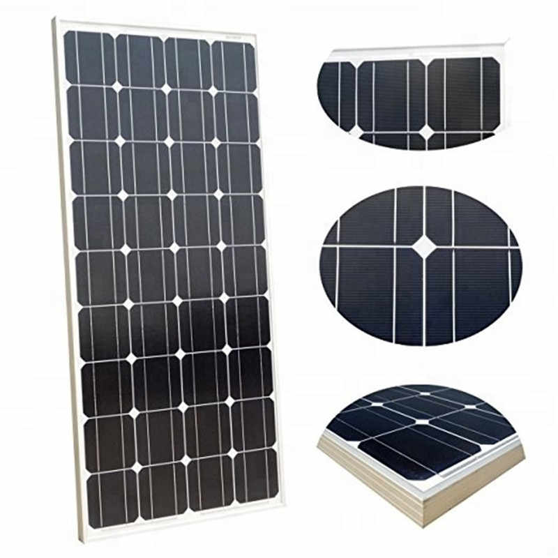 China mayoristas 100W 18V paneles solares de vidrio 100 vatios panneau solaire monocristalino flexible Placa de células solares para el hogar/RV 12V