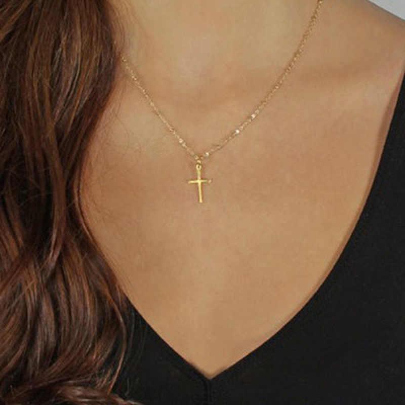 夏ゴールドチェーンクロスネックレス小さなゴールドクロス宗教ジュエリー女性のネックレス