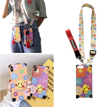 smile anti-knock strap case for iphone 7 8 XS MAX XR X 6 6S plus cover fashion shockproof soft silicone phone bag capa fund