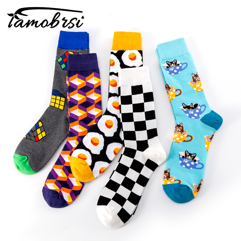 Plaid Cube Winter Brand Skate Stripes Geometric Creative Funny  Socks Men Women Socks Cotton Hip Hop Happy Cool Socks Wholesale