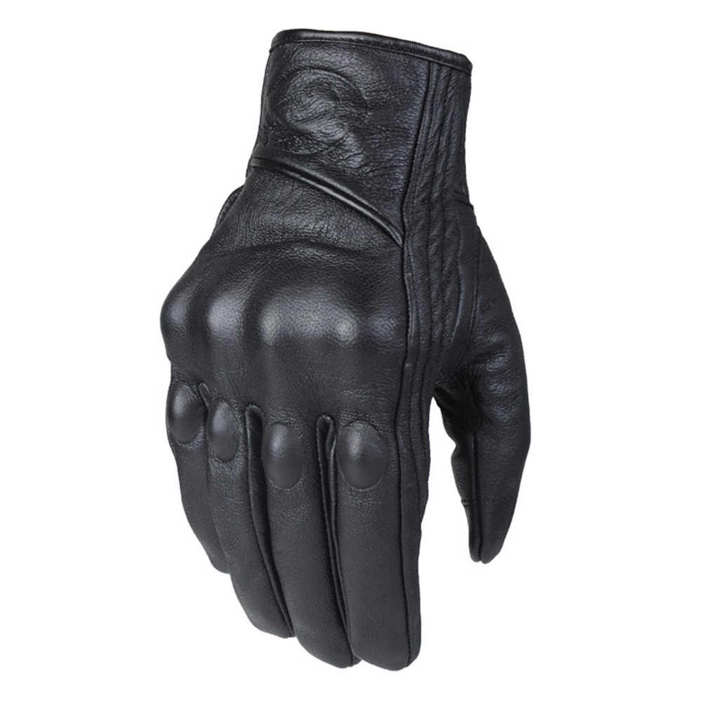 HEROBIKER 穿孔本物の革のオートバイの手袋夏通気性モト手袋保護具モトクロスグローブ Gants デモト