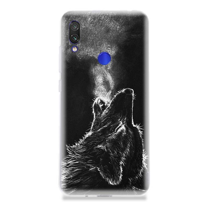 The Wolf Fierce Phone Case for Xiaomi Redmi S2 Y3 Y2 Note 7 7S 6 5 Pro 4 4X Mi F1 9 8 A2 Lite Pattern Cover Capa Coque in Half wrapped Cases from Cellphones Telecommunications