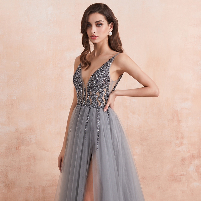 Sexy V-Neck Long Prom Dresses 2020 Beaded Beading Crystal High Splits Backless A-Line Formal Gown Party Dress 4