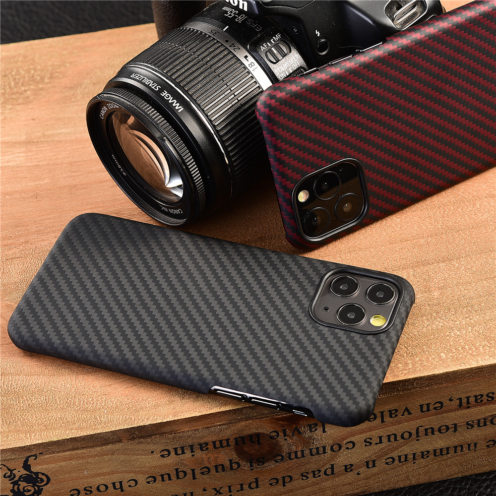 Image 5 - Thin strudy and lightweight protecive case for apple iphone 11 pro max carbon fiber back cover bumper aramid shellFitted Cases   -