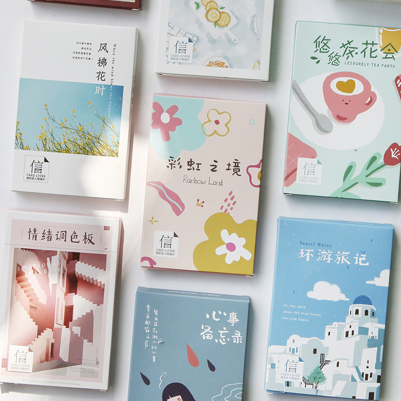Hand Painting Postcard Box Cute Creative Greeting Card Or Desk Wall Decor