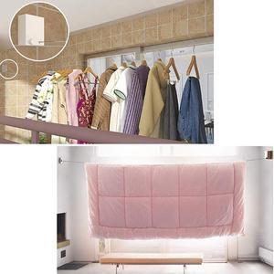 Image 4 - Yaratıcı açık giysi rafı kapalı geri çekilebilir Clothesline halat teleskopik paslanmaz dize çamaşır askıları duvara kurutma rafı