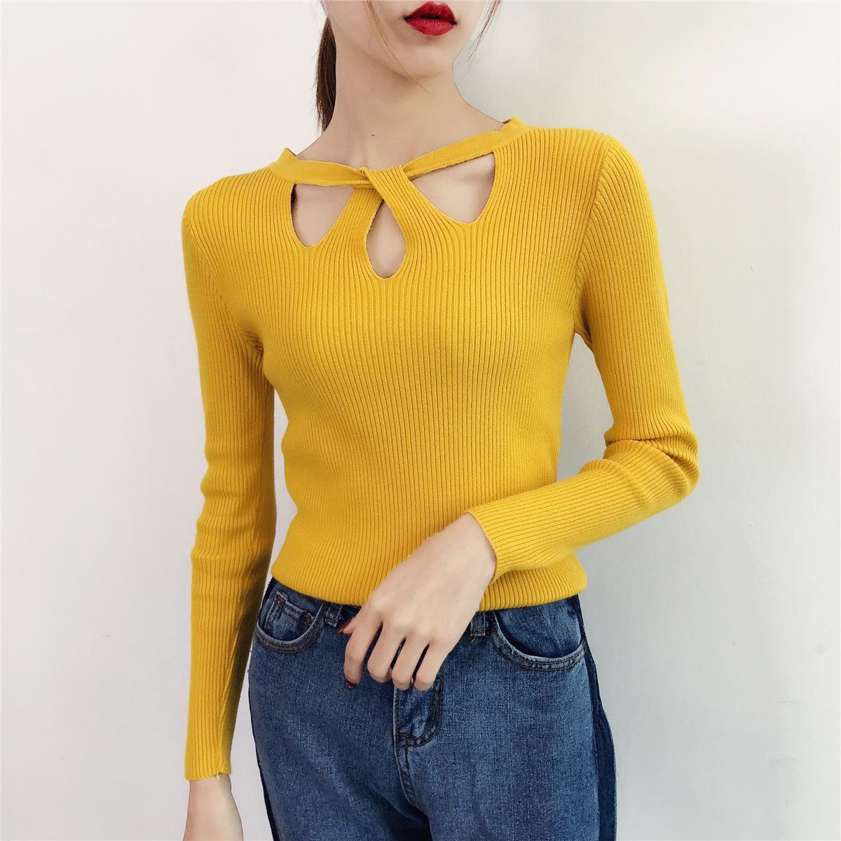 2020 Crewneck Sexy Hollow Knit Sweater Women's Pullover Autumn And Winter Long Sleeve Slim Bottoming Shirt Top Sweater C107