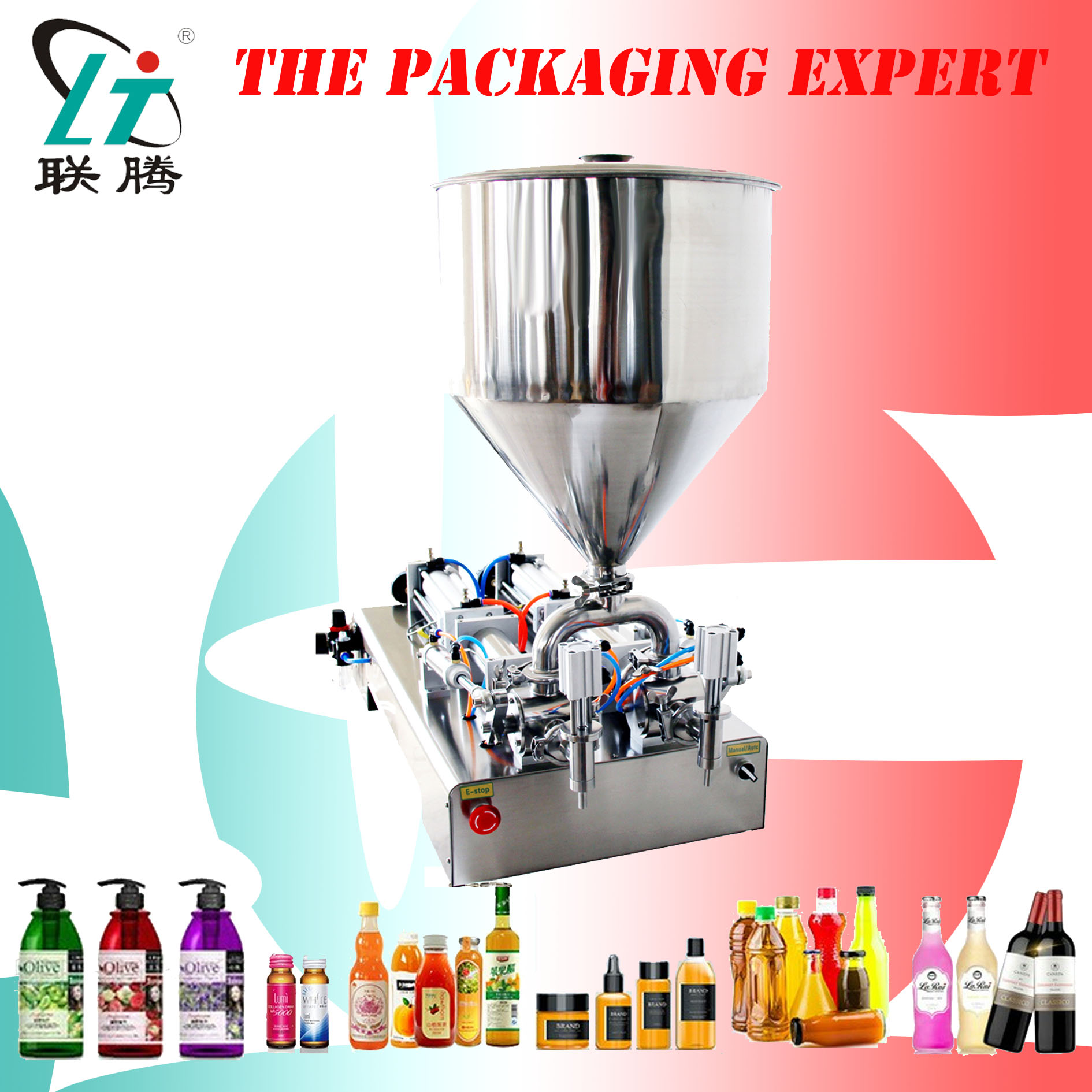 Paste Filling Machine Pneumatic Semi Auto Filler Double Heads Cylinders Shampoo Lotion Cream Sauce Piston Filler Free Shipping