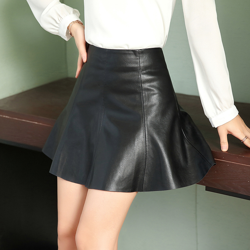 Women Faux Leather Skirt Elegant High Waist Female Mini Skirt A-line Party Club Ladies Sexy Short Skirts Puls Size image