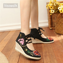 Veowalk Beaded Flower Embroidered Women Gladiator Lace Up Canvas Pumps High Top 6cm Heels Wedges Platform Shoes for Ladies