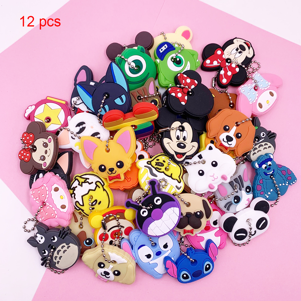 12 Pcs Protective Key Case Cover For Key Control Dust Cover Holder Cartoon Silicone Keychains Home Accessories Wholesales