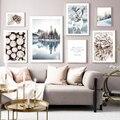 Deer Wald See Schnee Landschaft Winter Wand Kunst Leinwand Malerei Nordic Poster Und Drucke Wand Bilder Für Wohnzimmer Decor