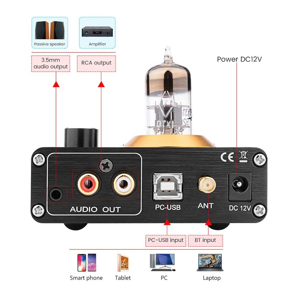 APTX Amplificador Bluetooth 5.0 Hifi USB DAC Audio Mini Amp Headphone Amplifier 6N3 Vacuum Tube Portable Earphone Amplifiers 3