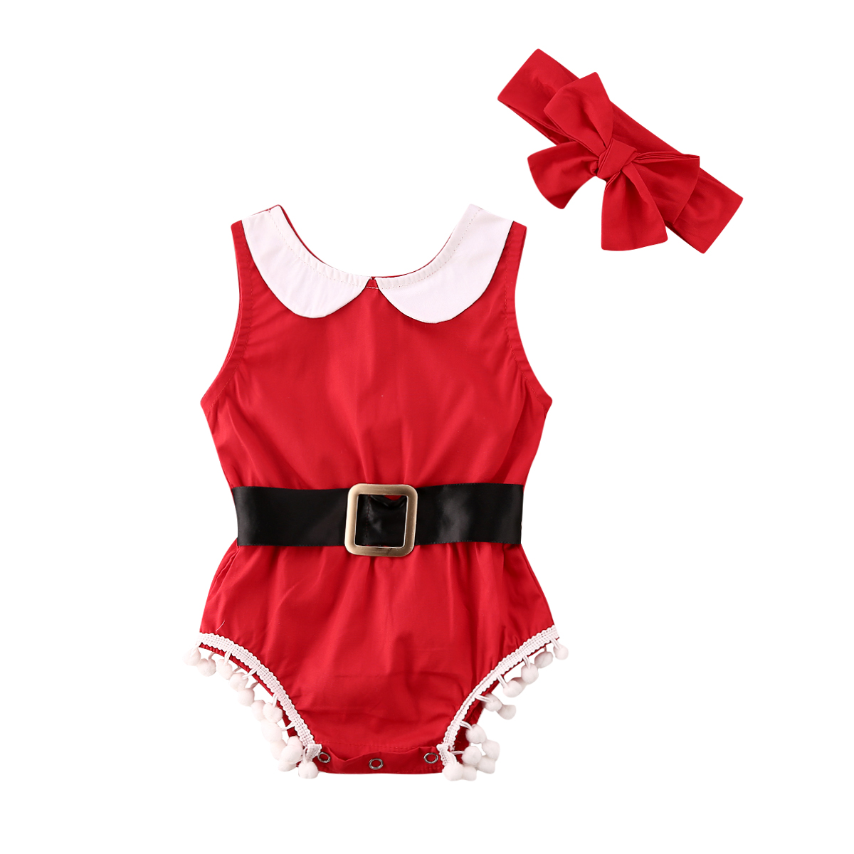 My First Christmas Princess Infant Baby Girl Clothing Sleeveless Tassel Bodysuit  Jumpsuit  Outfit Children's Clothes For Girl