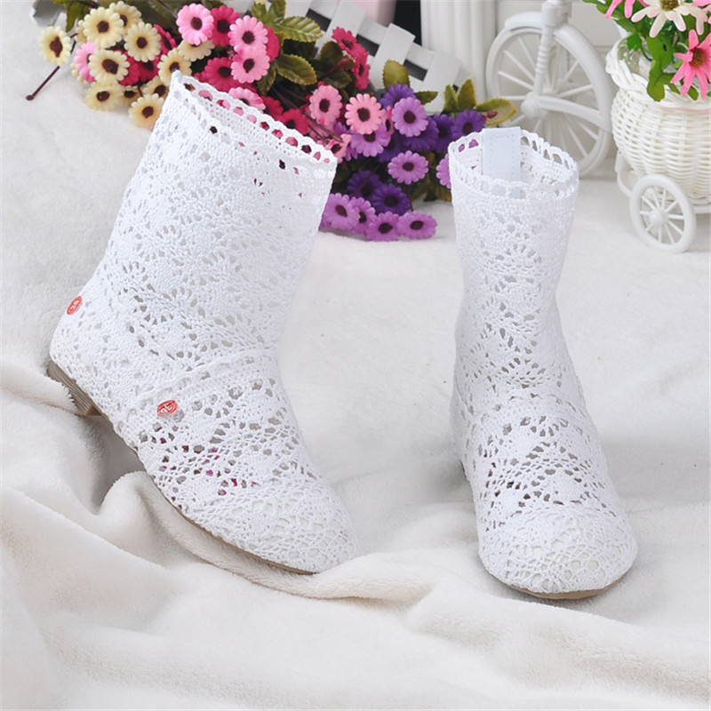 spring and autumn knitted hollow boots flat bottom mesh high / low tube breathable fashion lace boots women's shoes