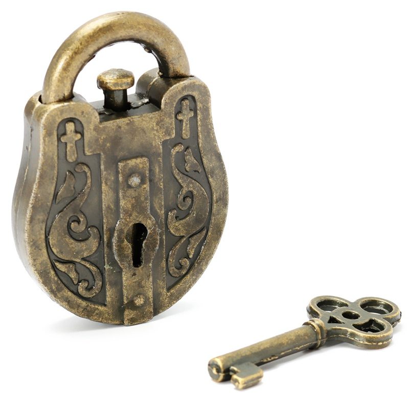 JIMITU Vintage Metal Cast God Lock Key Puzzle Toy IQ&EQ Mind Brain Teaser Soup Toys Gift Intellectual Educational Children Adult