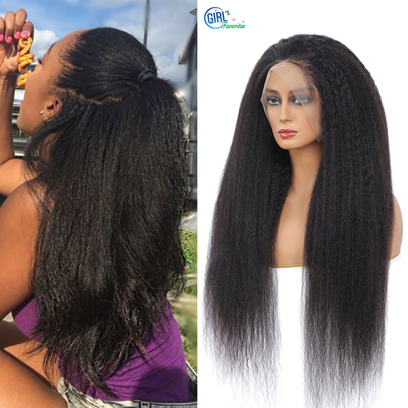 10A Grade Human Hair Wigs 13X4 Kinky Straight Lace Front Human Hair Wig HD Transparant Lace Frontal Wig 250 Density Lace Wig