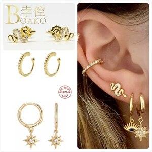 Punk 925 Sterling Silver Earrings For Women Gold Snake Spike Earrings Girl Cartilage Ear Bone Earrings Star Zircon S925 aretes