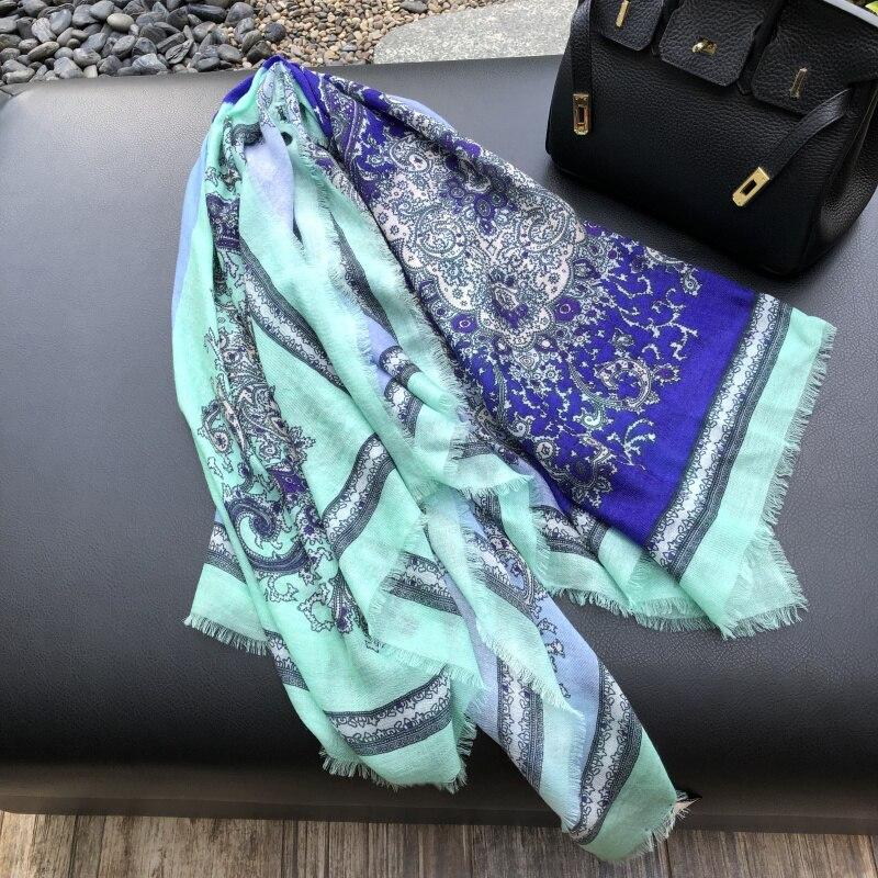 2019 nouveau Paisley impression écharpe femmes Pure cachemire foulards femme Bandana hiver doux châles enveloppes dame de luxe écharpe 200*100cm - 3