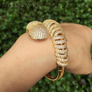Image 4 - ModemAngel יוקרה פרח אופנה מעוקב Zirconia דובאי חתונה נחושת תכשיטי צמיד צמיד טבעת סט שמלת תכשיטי לאישה La
