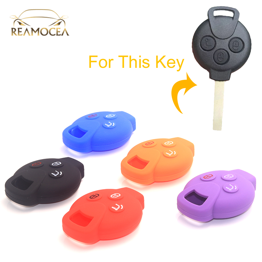 Reamocea 1Pc 3 Buttons Silicone Key Case Shell  Fob Cover Fit For Mercedes Benz Smart Fortwo Forfour City Coupe Roadster