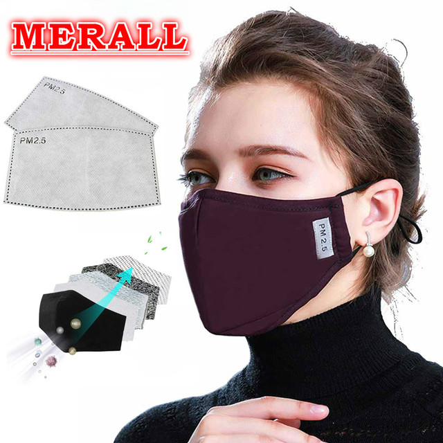 PM2.5 Cotton Black Mouth Mask Anti Dust Mask Activated Carbon Filter Windproof Mouth-muffle Bacteria Proof Flu Face Masks Care