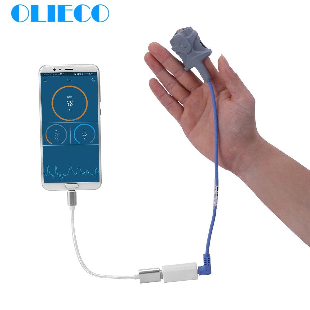 1 Sensor USB Vinger Pulsoximeter voor Android Telefoon met OTG Functie Volwassen Kinderen SpO2 PR Saturatiemeter Slaap Hartslag monitor