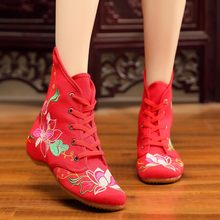 Embroidered Winter Boots Women Vintage Flower Canvas Casual Sport Lace-Up Square Heel Short Ankle Boots Botines Mujer 2019(China)