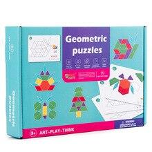 60 PCS Montessori Educational Toys Children Creative Geometric Shape Puzzle for Kids Developing Wooden Geometric Shape Toys