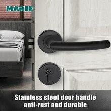 Ручка для межкомнатной двери из нержавеющей стали, черная, LH1007