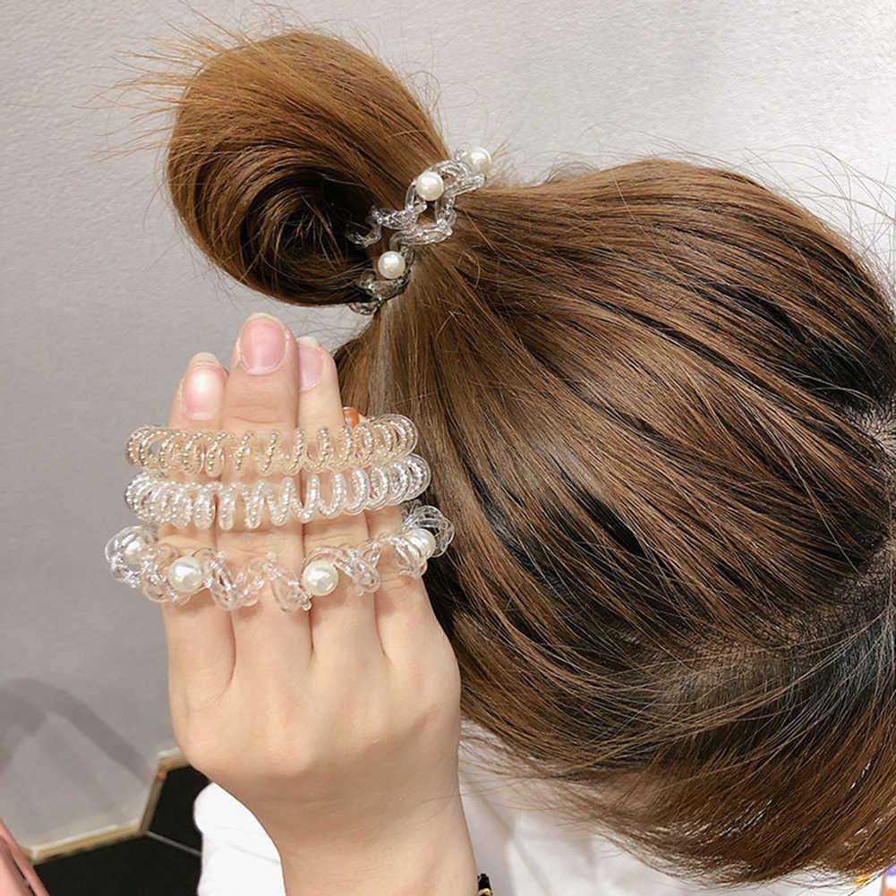 1PCS Pearls Elastic Hair Bands Girls Hair Accessories Rubber Band Headwear Hair Rope Spiral Shape Hair Ties Gum Telephone Wire