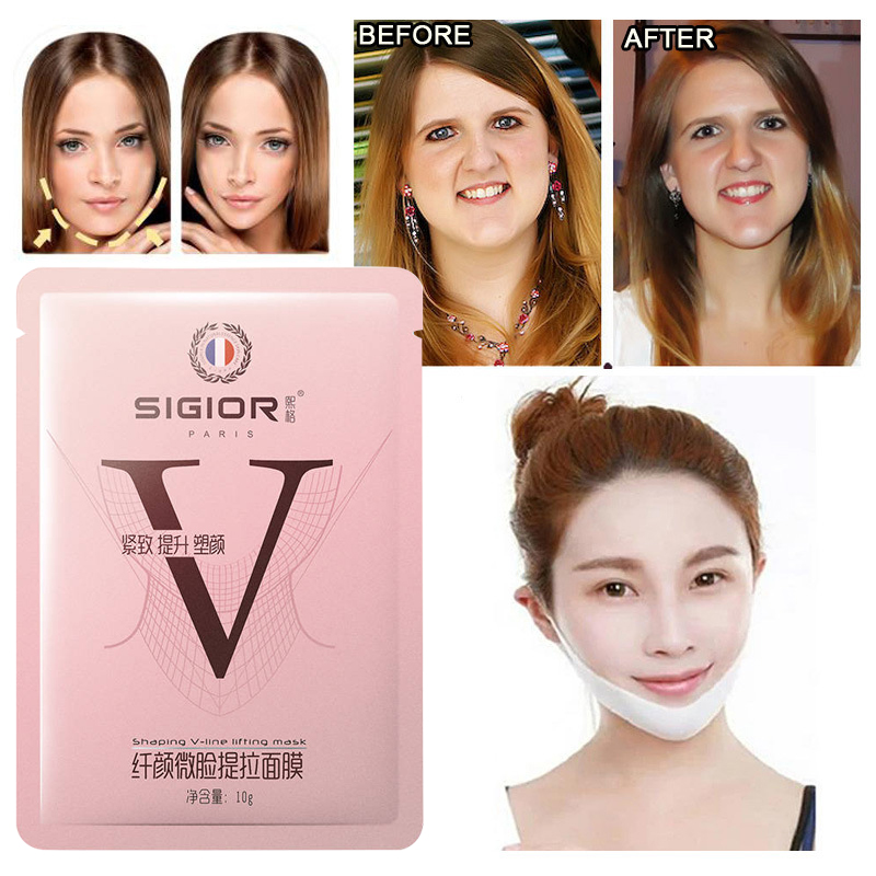 V-Shape Slimming Lifting Firming Anti Wrinkle Sagging Double Chin Fat Burn Disposable Thin Face Masks Makeup Cosmetics TSLM1